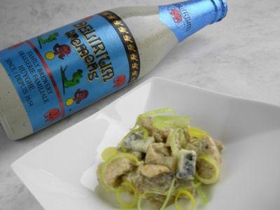 Filete de pavo con champiñones, queso de pasta azul y Delirium Tremens
